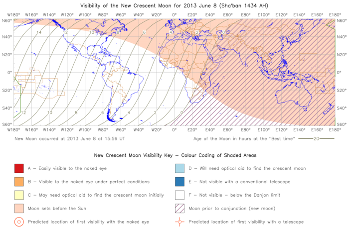 Global lunar visibility map for 2013 June 08