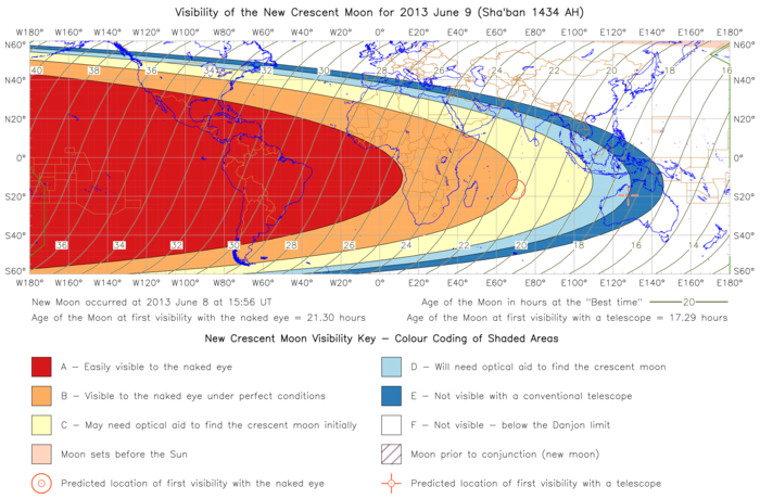 Global lunar visibility map for 2013 June 09