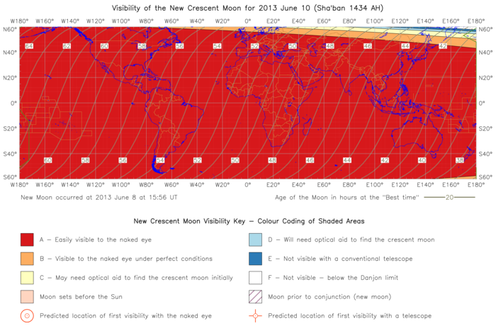Global lunar visibility map for 2013 June 10
