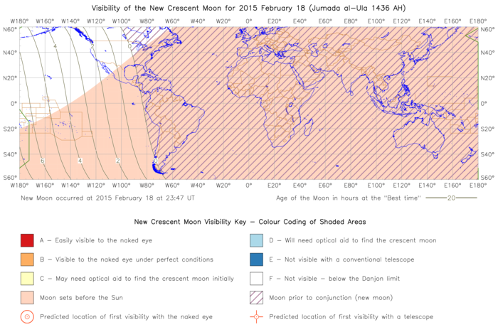 Global lunar visibility map for 2015 February 18