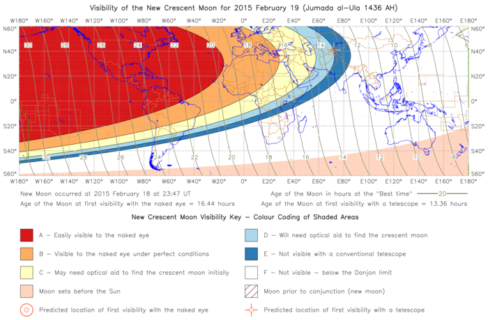 Global lunar visibility map for 2015 February 19