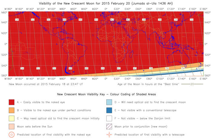 Global lunar visibility map for 2015 February 20