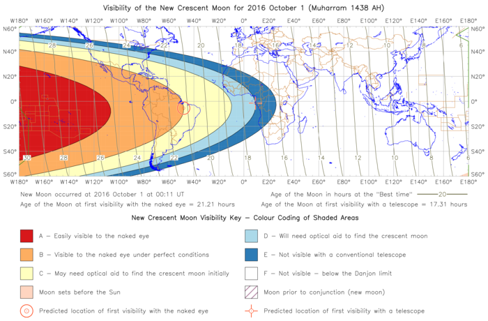 Global lunar visibility map for 2016 October 01