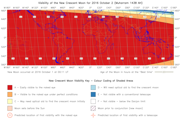Global lunar visibility map for 2016 October 02