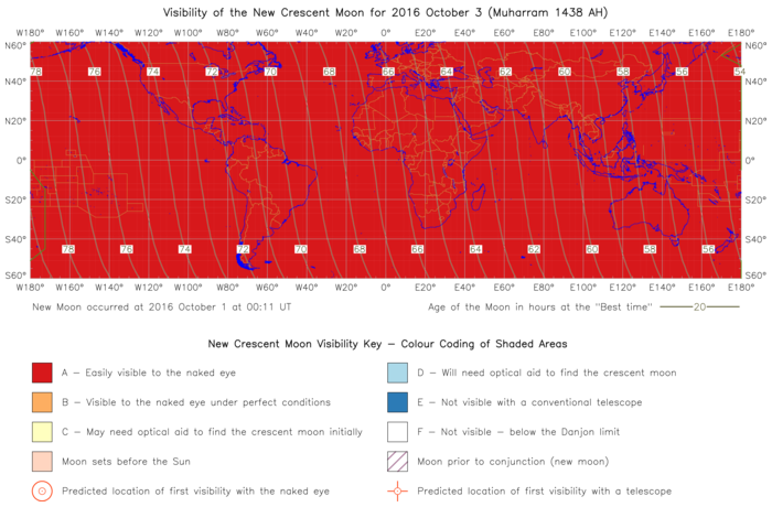 Global lunar visibility map for 2016 October 03