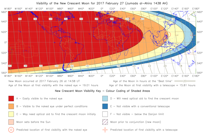 Global lunar visibility map for 2017 February 27