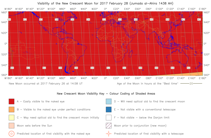 Global lunar visibility map for 2017 February 28