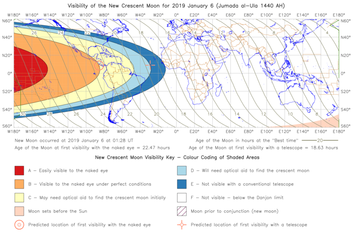 Global lunar visibility map for 2019 January 06