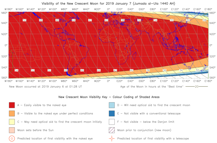 Global lunar visibility map for 2019 January 07