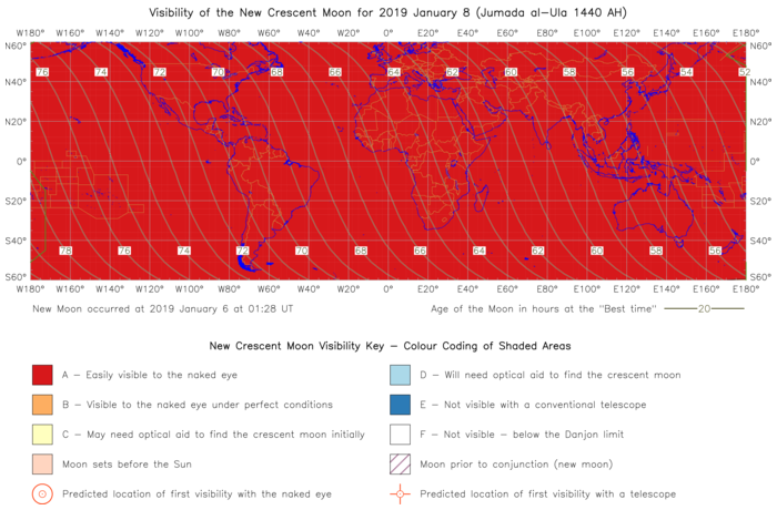 Global lunar visibility map for 2019 January 08
