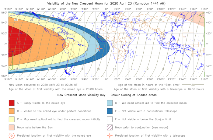 Global lunar visibility map for 2020 April 23