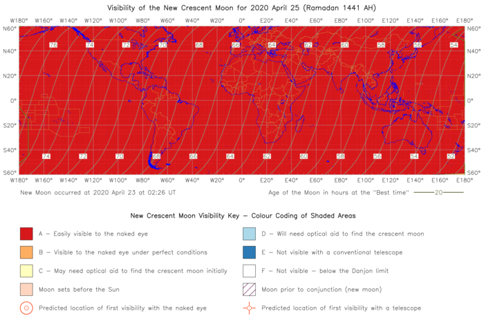 Global lunar visibility map for 2020 April 25