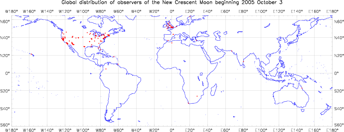 Global distribution of observers for 2005 October 03 New Moon