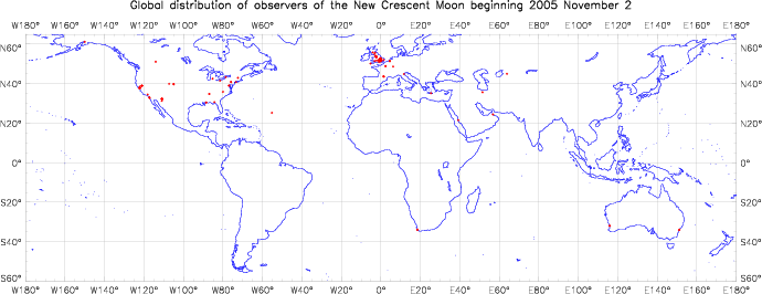 Global distribution of observers for 2005 November 02 New Moon