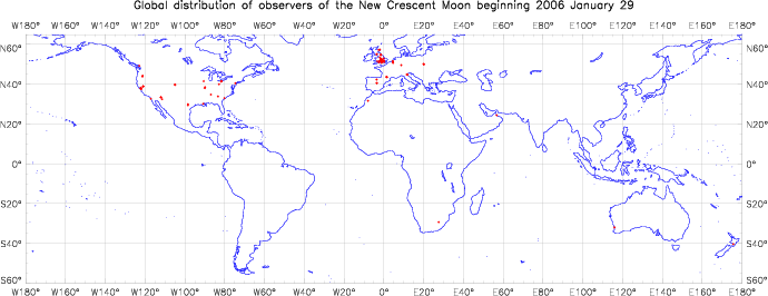 Global distribution of observers for 2006 January 29 New Moon
