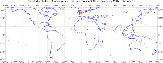 Global distribution of observers for 2007 February 17 New Moon