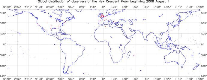 Global distribution of observers for 2008 August 01 New Moon