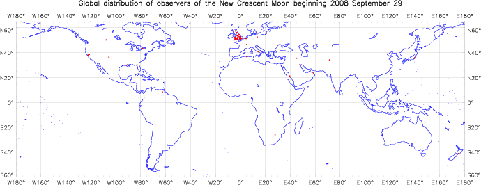 Global distribution of observers for 2008 September 29 New Moon