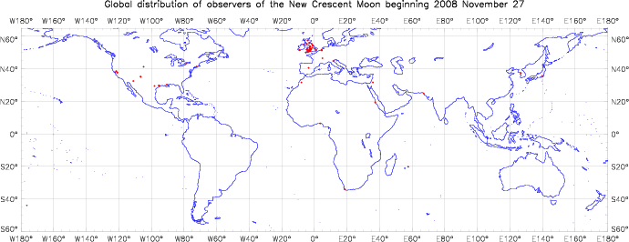 Global distribution of observers for 2008 November 27 New Moon
