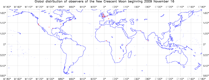 Global distribution of observers for 2009 November 16 New Moon