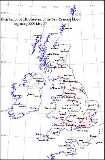 UK distribution of observers for 2006 May 27 New Moon