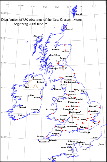 UK distribution of observers for 2006 June 25 New Moon