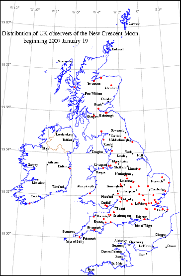 UK distribution of observers for 2007 January 19 New Moon
