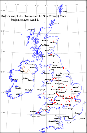 UK distribution of observers for 2007 April 17 New Moon
