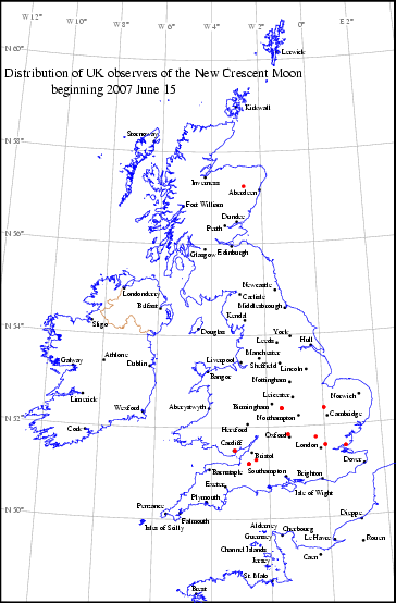 UK distribution of observers for 2007 June 15 New Moon