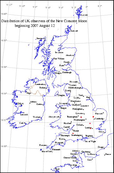 UK distribution of observers for 2007 August 12 New Moon
