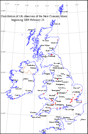 UK distribution of observers for 2009 February 25 New Moon