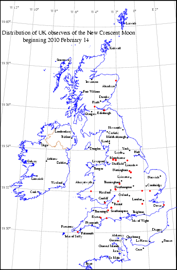 UK distribution of observers for 2010 February 14 New Moon