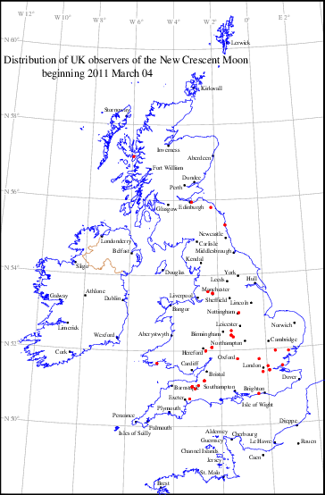 UK distribution of observers for 2011 March 04 New Moon