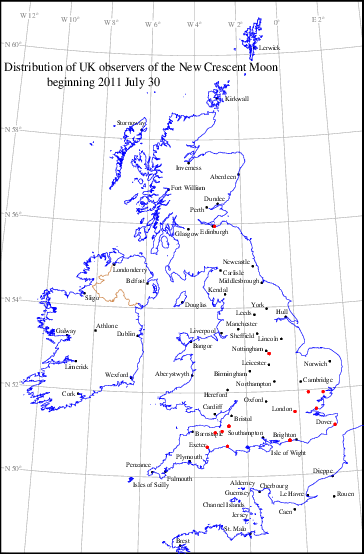 UK distribution of observers for 2011 July 30 New Moon