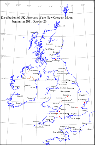UK distribution of observers for 2011 October 26 New Moon