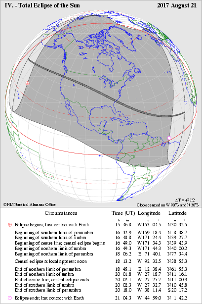 Global Visibility of the Total Eclipse of the Sun on 2017 August 21