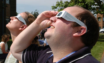 Aluminized mylar eclipse viewers in use