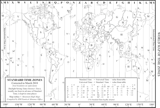 HM Nautical Almanac Office World Time Zone Map
